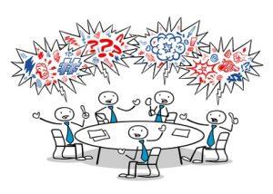 Cartoon Business Leute fluchen und streiten im Meeting