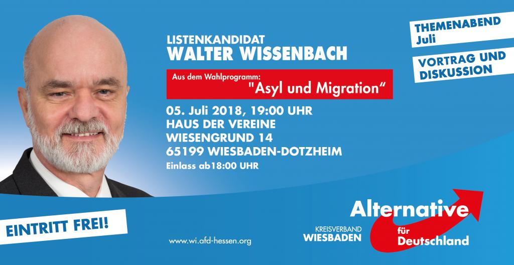 Referent des Themenabend am 05.07.2018 ist Walter Wissenbach