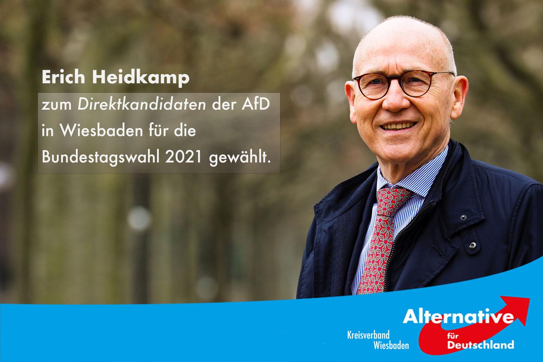 Überragende Zustimmung für Erich Heidkamp in der Wahl als Direktkandidat der AfD in Wiesbaden zur Bundestagswahl 2021